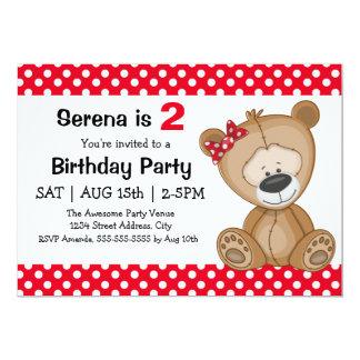 "Cute Polka Dots Teddy Bear Girl's Birthday Party 5"" X 7"" Invitation Card"