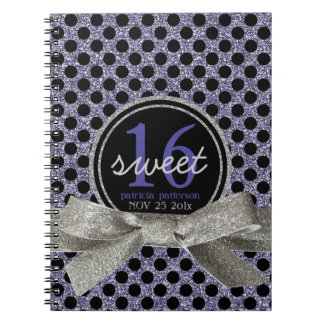 Cute Polkadot Sweet 16 Purple and Black Notebook