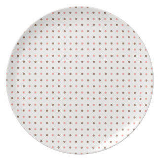 Cute Polkadots Brown and Pink Dinner Plate