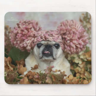 Cute Pom Pom Pugs and Kisses Mouse Pad