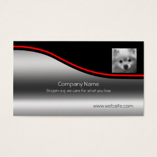 Cute Pomeranian Puppy, red swoosh, metallic-effect Business Card