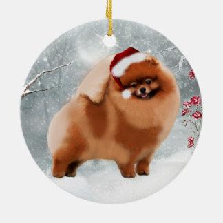 Cute Pomeranian Santa Winter Ornament