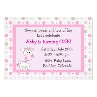 Cute Pony 1st Birthday Invitation for Girls