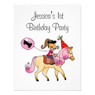 Cute pony and 1st birthday girl party personalized announcement