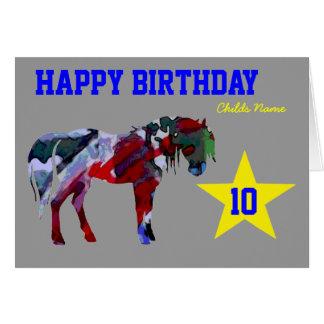 Cute Pony Birthday Card - 10th Birthday Card
