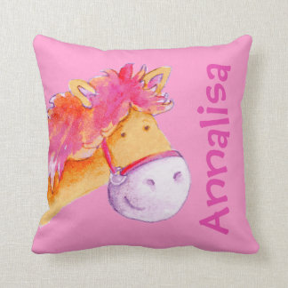 Cute pony name girls orange pink pillow