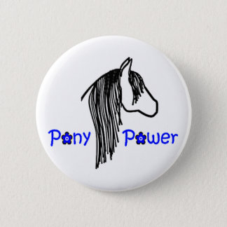 Cute Pony Power in Blue Horse 2 Inch Round Button