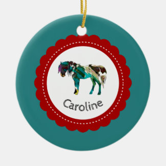Cute Pony with Blue and Red Ceramic Ornament