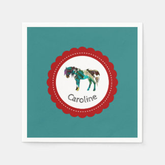 Cute Pony with Blue and Red Disposable Napkins