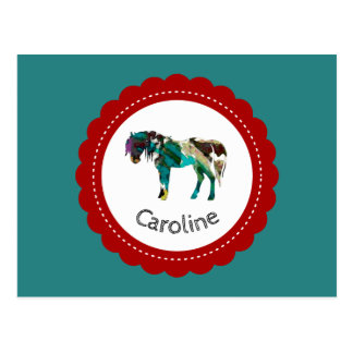 Cute Pony with Blue and Red Postcard