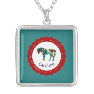 Cute Pony with Blue and Red Silver Plated Necklace