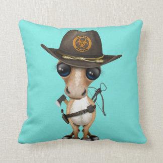 Cute Pony Zombie Hunter Throw Pillow