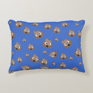 Cute Poop Emoji Pattern Accent Pillow