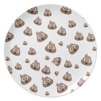 Cute Poop Emoji Pattern Party Plates