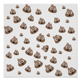 Cute Poop Emoji Pattern Poster