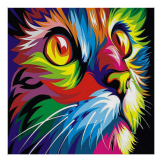 Cute pop art cat home office decor poster