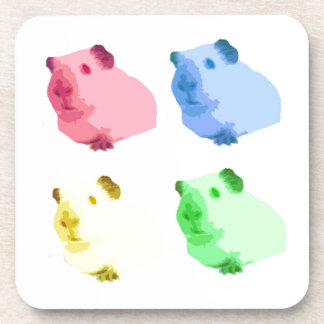 Cute Popart Cutout Green Pink Yellow Guinea pigs Beverage Coasters