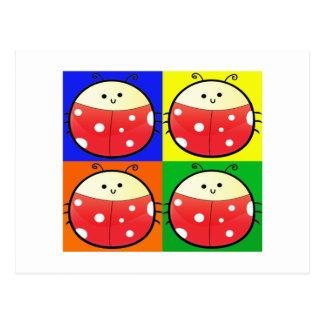 Cute Popart Ladybird Postcard