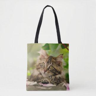 Cute Portrait Maine Coon Cat Kitten Photo  Shopper Tote Bag