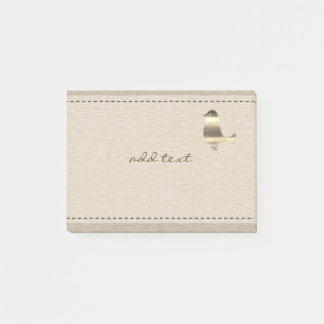 Cute Post It In Style With Gold Bird Linen Postit Post-it Notes