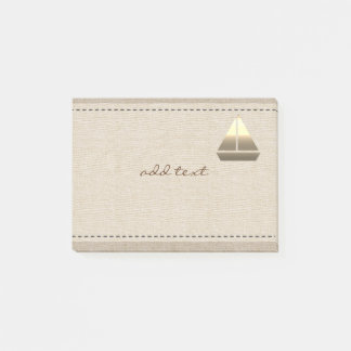 Cute Post It In Style With Gold Sailing Boat Post-it Notes