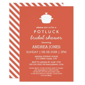 Cute Potluck Bridal Shower | Orange White Card