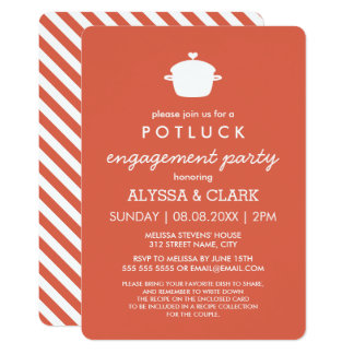 Cute Potluck Engagement Party Invitation