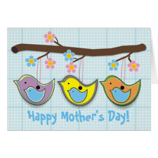Cute pregnant birdies blue Mother's Day card