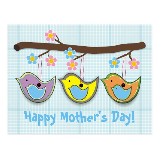 Cute pregnant birdies blue Mother's Day postcard
