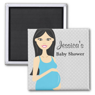 Cute Pregnant Woman In Blue Dress Baby Shower Magnet