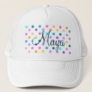 Cute pretty girly colorful dots trucker hat