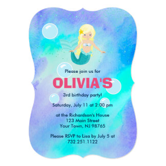 "Cute Pretty Mermaid Girls Birthday Blue Watercolor 5"" X 7"" Invitation Card"