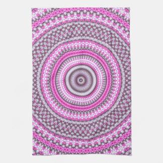 Cute Pretty Pink mandala kitchen Tea towel