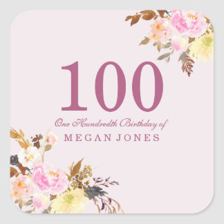 Cute Pretty Pink Peach Flower 100th Birthday Party Square Sticker