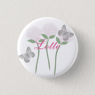 Cute Pretty Roses  Custom Floral Butterflies Badge 1 Inch Round Button