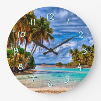 Cute Pretty Summer Hawaiian Beach Watercolor Clocks