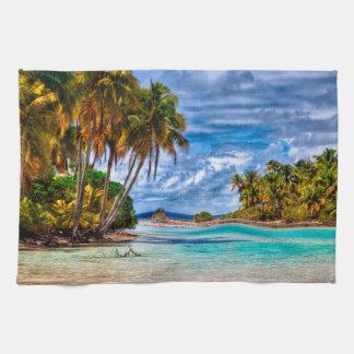 Cute Pretty Summer Hawaiian Beach Watercolor Kitchen Towel