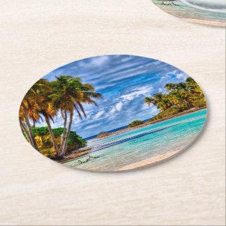 Cute Pretty Summer Hawaiian Beach Watercolor Round Paper Coaster