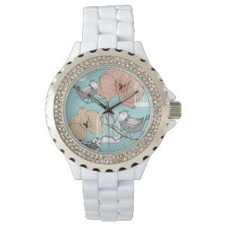 Cute Pretty Vintage Floral Blue Birdcages Design Wristwatches