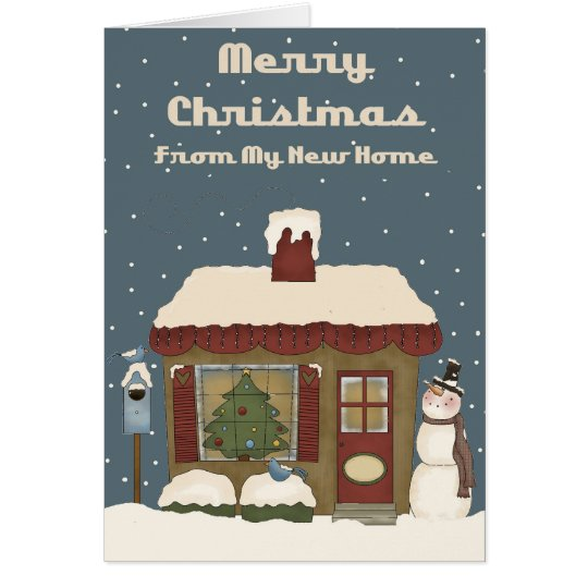 Cute Prim Home My New Home Christmas Card