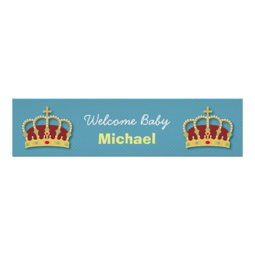 Cute Prince Boy Baby Shower Welcome Party Banner Print