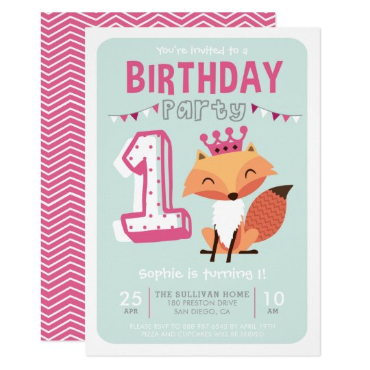 Cute Princess Baby Fox Hot Pink First Birthday Card