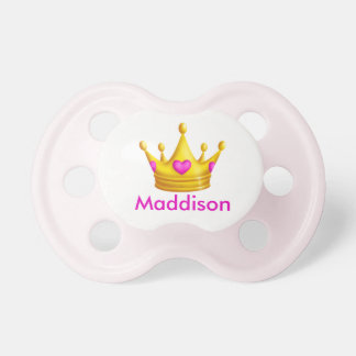 Cute Princess Crown with Personalized Name Pacifier