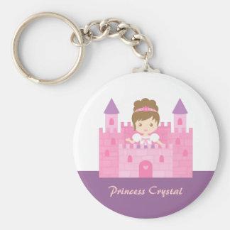 Cute Princess Girl in Pink Castle Fairytale Keychain