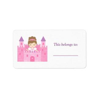 Cute Princess Girl in Pink Castle Label
