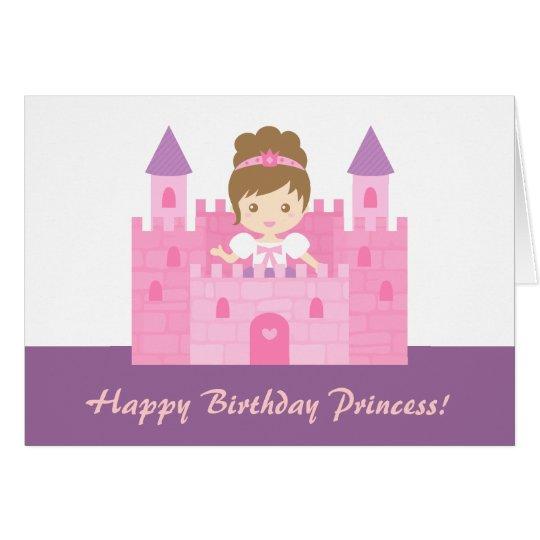 Cute Princess in Castle Girl Happy Birthday Card