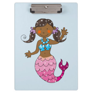 cute princess mermaid (dark hair) clipboard