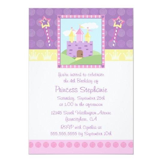 Cute princess party castle birthday invitation