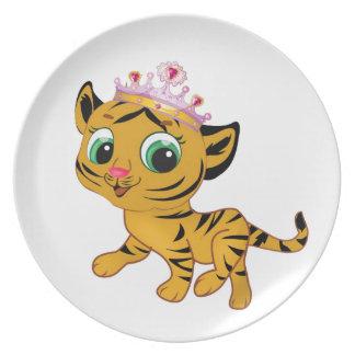 Cute Princess Tiger Tigress Tiara Gift Present Dinner Plate
