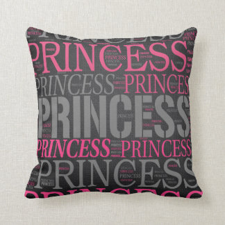 Cute Princess Wordart Throw Pillow